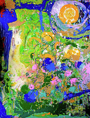 Blue Green Abstract With Moon Original