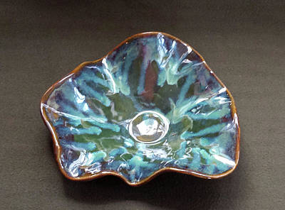 Ceramic Art - Blue Green And Golden Brown Ceramic Bowl by Suzanne Gaff