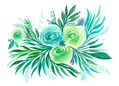 Blue Green And Turquoise Flower In Watercolor Art Print by My Art