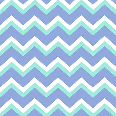 Chevron Mixed Media - Blue Green Chevron Pattern by Christina Rollo