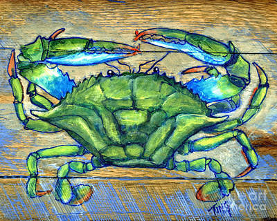 Blue Green Crab On Wood Art Print by Doris Blessington