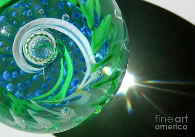 Photograph - Blue Green Glass Swirl Close-up by Karen Adams