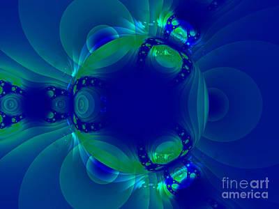 Blue Green Globe Luminant Fractal Art Print