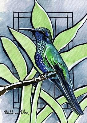 Painting - Blue Green Hummingbird by Dora Hathazi Mendes