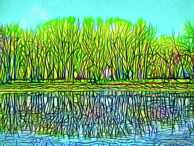 Digital Art - Blue Green Lake Reflections - Park In Boulder County Colorado by Joel Bruce Wallach
