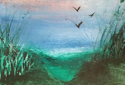 Mixed Media - Blue/green Landscape by Lorraine Bradford
