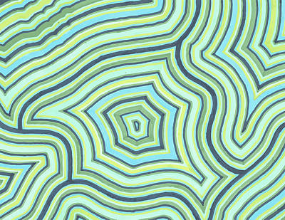 Drawing - Blue Green Pattern Play by Jill Lenzmeier