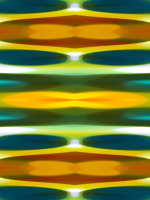 Abstract Seascape Digital Art - Blue Green Yellow Modern Art  Pattern 1 by Amy Vangsgard