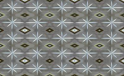 Digital Art - Blue Grey Diamond Pattern by Ellen Barron O'Reilly