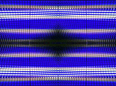 Photograph - Blue Grid Abstract by Mary Bedy