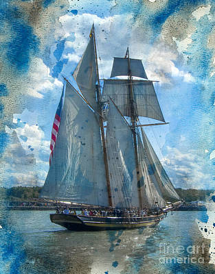 Digital Art - Blue Grunge Ship 2015 by Kathryn Strick