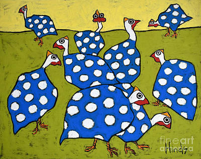 Guinea Wall Art - Drawing - Blue Guineas by David Hinds
