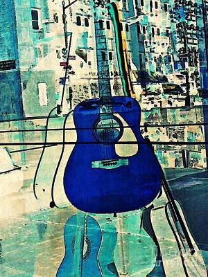 Blue Guitar Art Print