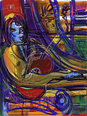 Digital Art - Blue Guy With Red Guitar by Russell Pierce