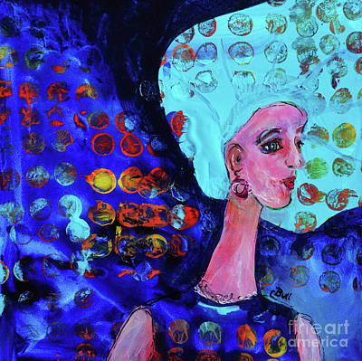 Blue Haired Girl On Windy Day Art Print