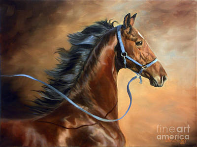 Landmarks Painting Royalty Free Images - Blue Halter Yearling Royalty-Free Image by Jeanne Newton Schoborg