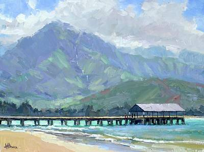 Painting - Blue Hanalei Pier by Jenifer Prince