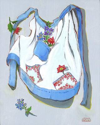 Painting - Blue Handkerchief Apron by Susan Thomas