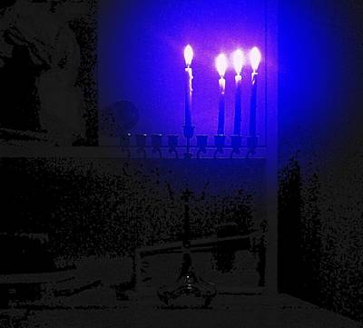 Photograph - Blue Hanukkah On The Third Day by Nieve Andrea