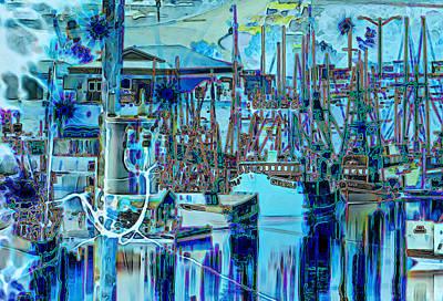 Night Fishing Digital Art - Blue Harbor by Marv Vandehey