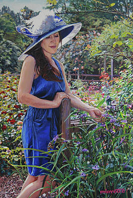 Painting - Blue Hat Girl by Tommy Midyette