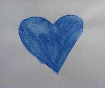 Drawing - Blue Heart by Alohi Fujimoto