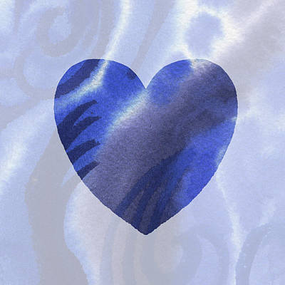 Painting - Blue Heart Watercolor Silhouette by Irina Sztukowski