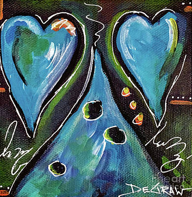 Painting - Blue Hearts by Cindy DeGraw