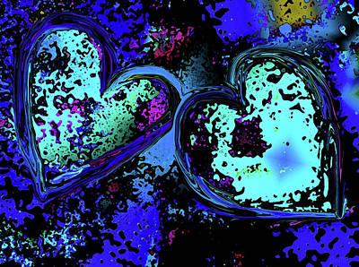 Digital Art - Blue Hearts by David Pantuso