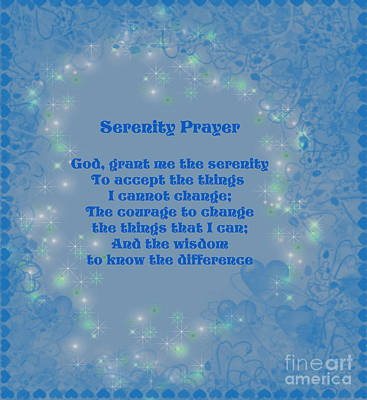 Blue Hearts Serenity Prayer Art Print by Smilin Eyes  Treasures