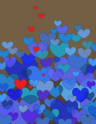 Digital Art - Blue Hearts by Val Arie