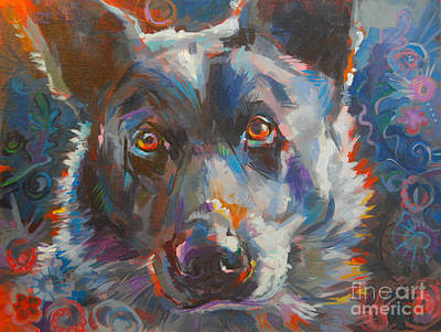 Herding Dog Painting - Blue Heeler by Kimberly Santini
