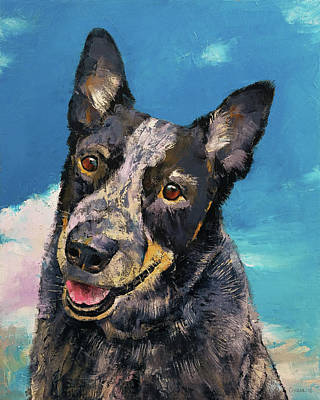 Impasto Oil Painting - Blue Heeler by Michael Creese