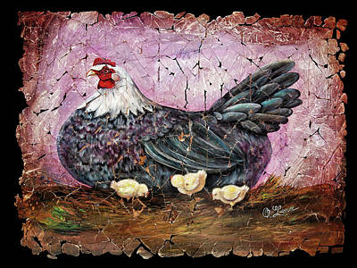 Blue Hen With Chicks Fresco Black Background Art Print