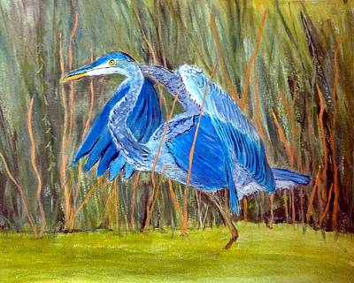 Painting - Blue Heron In Viera  Florida by Anne Sands