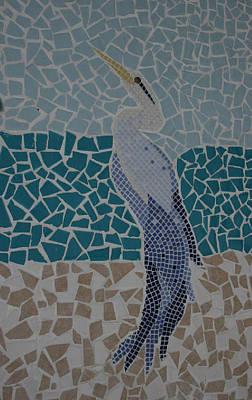 Ceramic Art - Blue Heron by Deborah Baker