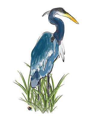 Digital Art - Blue Heron by Devon LeBoutillier
