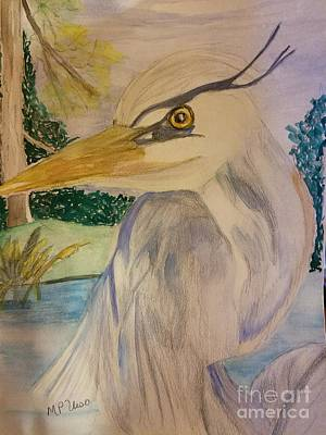 Painting - Blue Heron Gaze by Maria Urso