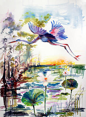 Painting - Blue Heron Glides Over Lotus Flowers by Ginette Callaway