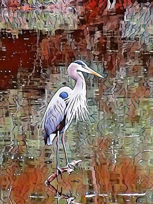 Mixed Media - Blue Heron Iv by Don Wright