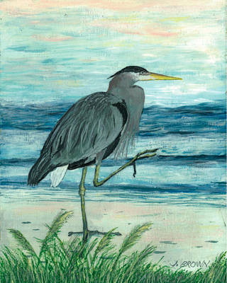 Blue Heron Art Print by John Brown