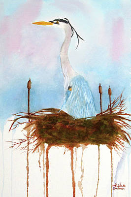 Painting - Blue Heron Nesting by Rich Stedman
