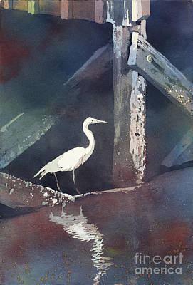 Poured Watercolours Painting - Blue Heron- Outer Banks by Ryan Fox