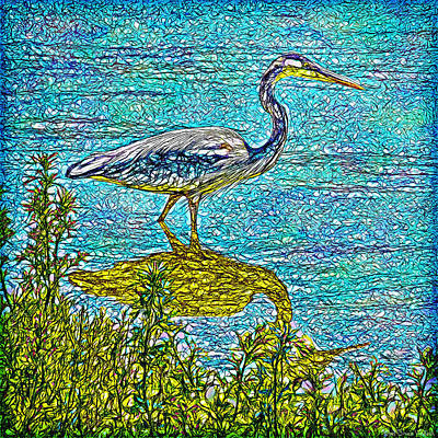 Digital Art - Blue Heron Reflections - Lake In Boulder County Colorado by Joel Bruce Wallach