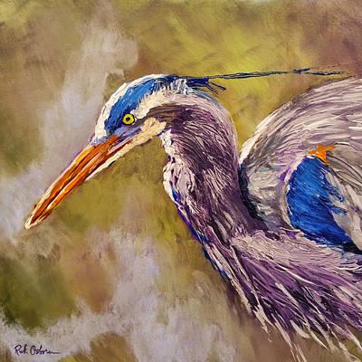 Herron Painting - Blue Heron by Rick Osborn