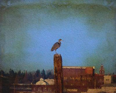 Blue Heron Sky Painted Art Print
