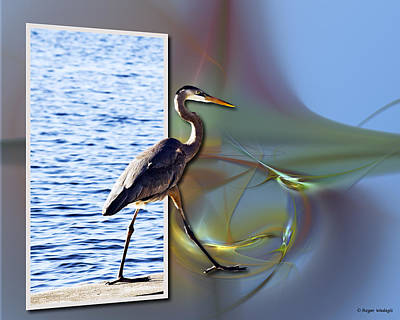 Waterfowl Painting - Blue Heron Strutting Out Of Frame by Roger Wedegis