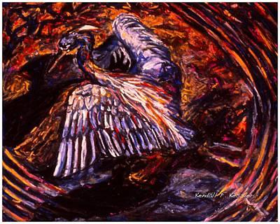 Painting - Blue Heron Swirl by Kendall Kessler