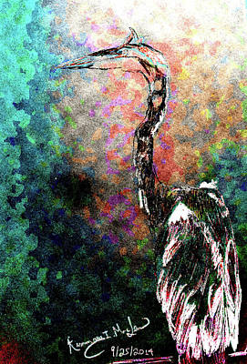 Drawing - Blue Heron Watching The World by Kimmary I MacLean