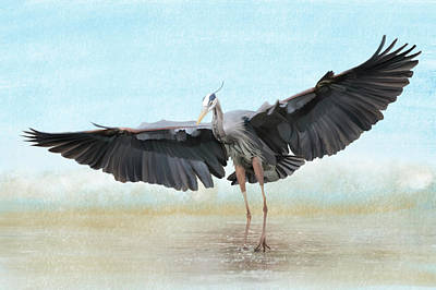 Photograph - Blue Heron Wings And Surf  by Patti Deters